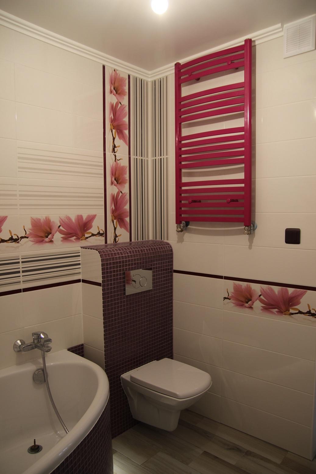różowy grzejnik łazięka
